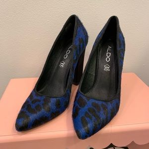Aldo Blue Cheetah Pony Hair Block Heels